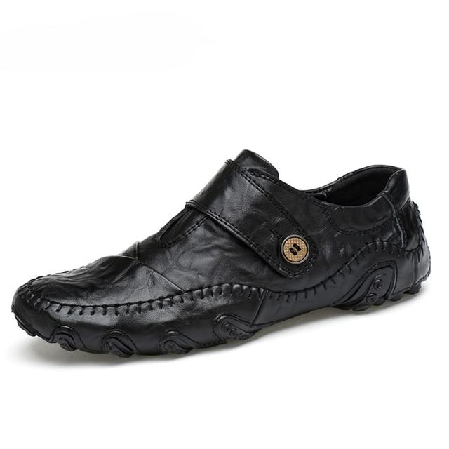 موضة النمط البريطاني الرجال حذاء كاجوال المتسكعون جلد أصلي للرجال أحذية في الهواء الطلق أحذية من الجلد الرجال أحذية الشتاء zapatos hombre