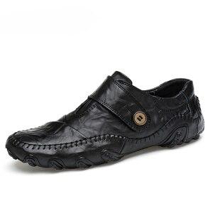 Image 1 - Mode Britischen Stil Männer Casual Schuhe Loafers Echtes Leder Männer Schuhe Outdoor Leder Schuhe Männer winter schuhe zapatos hombre