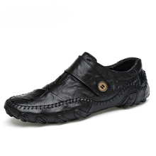 Zapatos informales de estilo británico para hombre, mocasines de piel auténtica, cuero para actividades al aire libre, para invierno