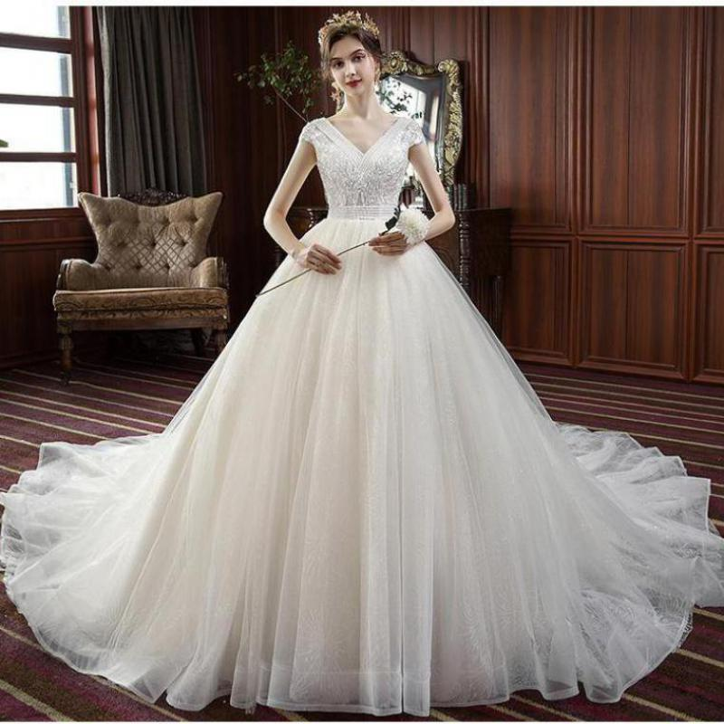Mrs Win Wedding Dress 2020 V-neck Sweep Train Ball Gown Princess Luxury Wedding Gown Lace Beading Wedding Dresses