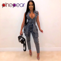PinePear Streetwear Autumn Rompers Womens Jumpsuit Female Sleeveless Black Blue Denim Jeans Overalls for Women 2020 Dropshipping