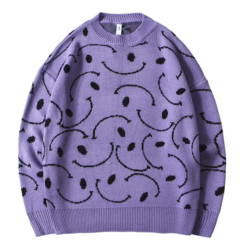 Mirecoo Purple Sweater Men For 2019 Retro Pattern Mens Wool Sweater Mens Pullover Sweaters O-Neck Male Fashion Streetwear Autumn