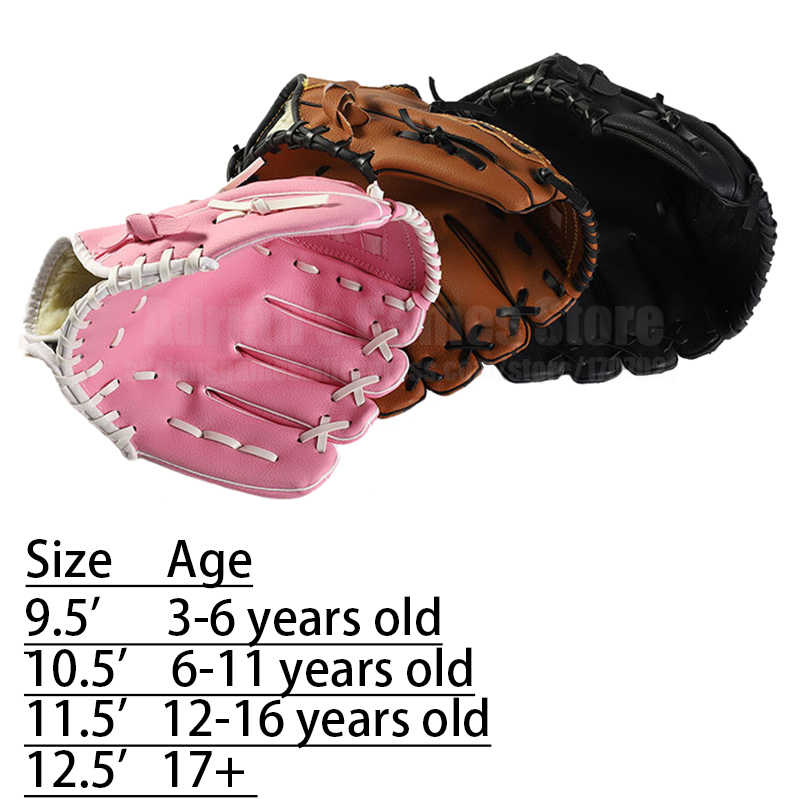 Baseball Glove Thickened Softball Mitt Leather Gloves For Teens Adults 3 Sizes