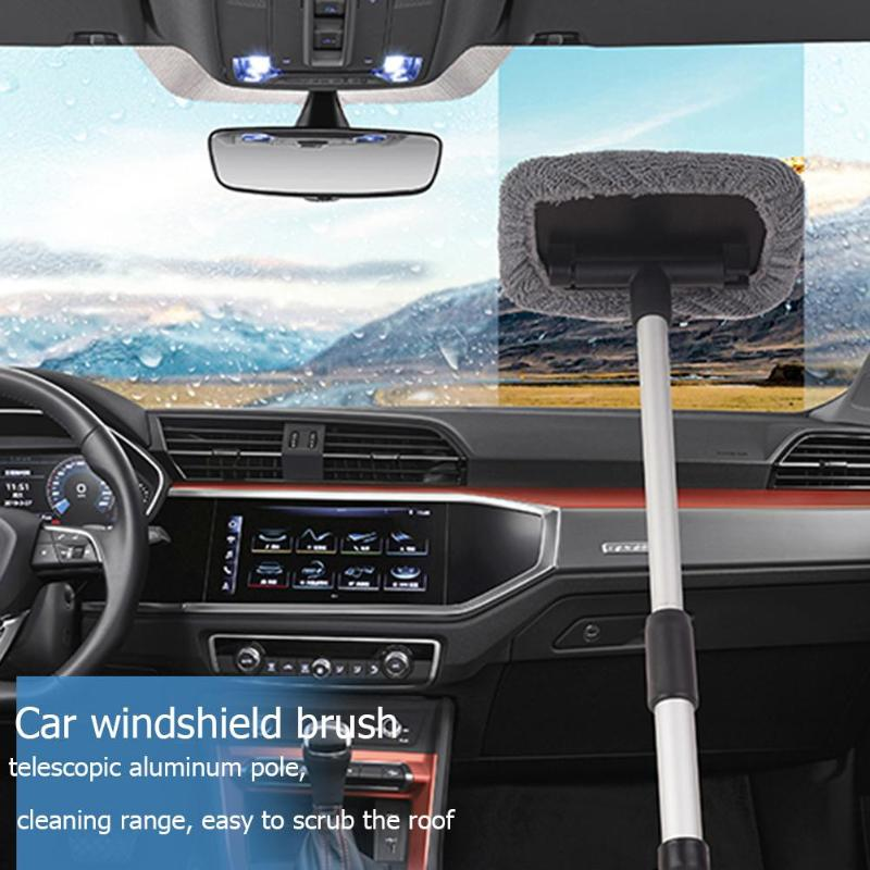 Telescopic Microfiber Car Window Cleaner Brush Windshield Wiper Cleaning Comfortable Anti Skid Front Windshield Cleaning ToolS