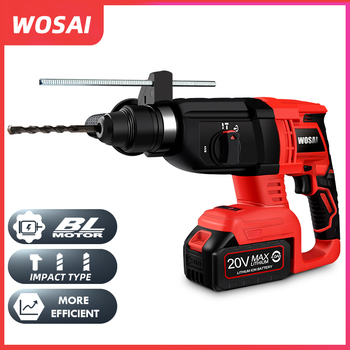 WOSAI 20V Electric Impact Drill Rotary Hammer Brushless Motor Cordless Hammer Electric Drill Electric Pick for Switch Freely japan makita hr2610 impact drill electric hamme electric pick 3 function power tools powerful 800w motor 4 600ipm 1 200rpm