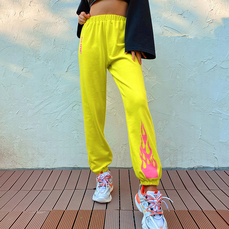 Focal20 Streetwear Flame Letter Printed Women Jogger Pants Elastic Waist Casual Loose Female Trousers Sporty Spring Lady Bottoms 1