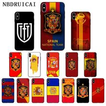 NBDRUICAI Spain flag national emblem High Quality Phone Case for iPhone 11 pro XS MAX 8 7 6 6S Plus X 5 5S SE XR case us national flag style protective epoxy back case for iphone 5 5s red blue