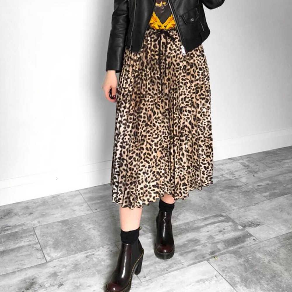 Jocoo jolee saia feminina leopardo impressão plissado saias vintage cordão cintura elástica midi saias casuais coreano a linha saia