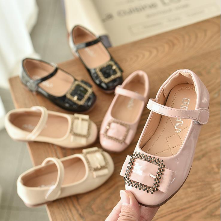 Children Girls Bright Pu Paillette Shoes Girls Princess Shoes Flat Dance Shoes 21-36 3colors 9809 TX07