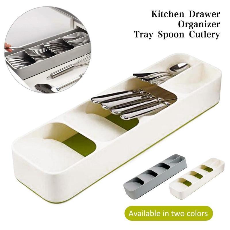 2020  Kitchen Drawer Organizer Tray Spoon Cutlery Separation Finishing Storage Box Cutlery Kitchen Storage Dropship