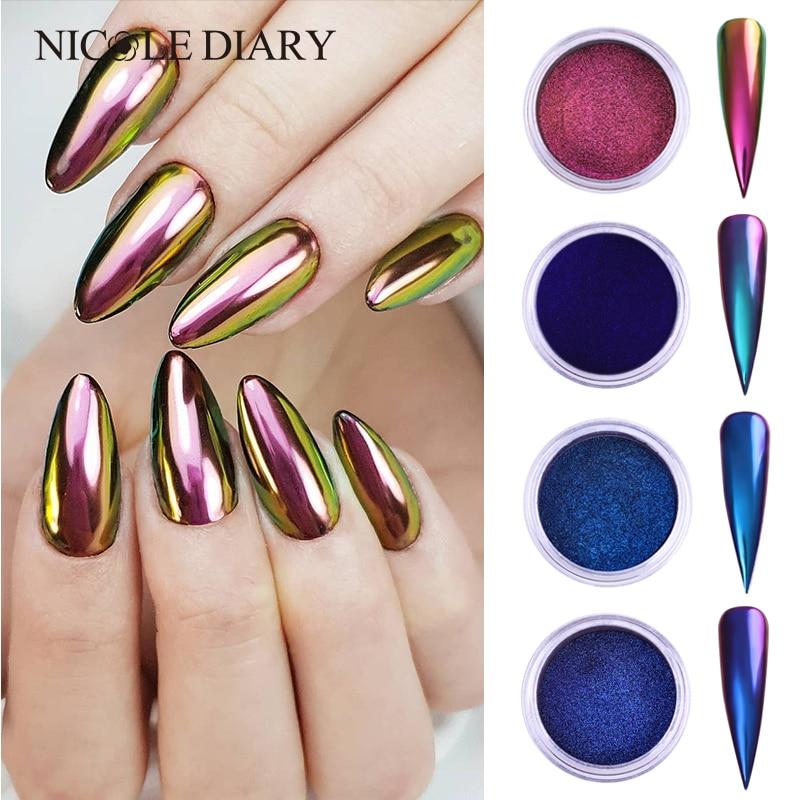 0.2g/Box Chameleon Mirror Laser Nail Glitter Powders Auroras Effect Nail Art Chrome Pigment Dust DIY Design Decoration