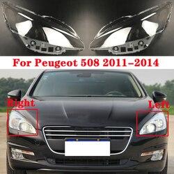 Para Peugeot 508 2011-2014 luz de la cabeza brillante del coche tapas de la cubierta delantera de la lámpara