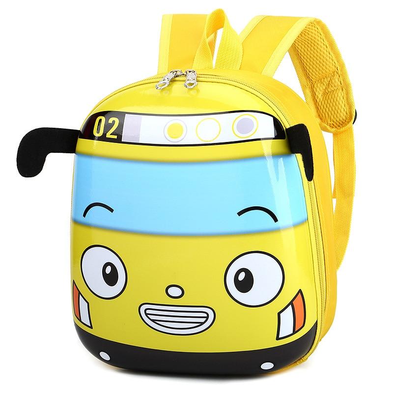 Cute Yellow Car Backpack Children Cartoon Baby Kindergarten School Bag EVC Hard Shell Shoulder Bag Boys&Girls Mochilas