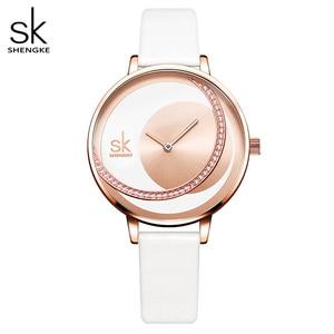 Image 1 - Shengke 시계 여성 럭셔리 크리스탈 시계 Reloj Mujer 가죽 밴드 다이아몬드 숙녀 쿼츠 시계 여성 시계 Montre Femme