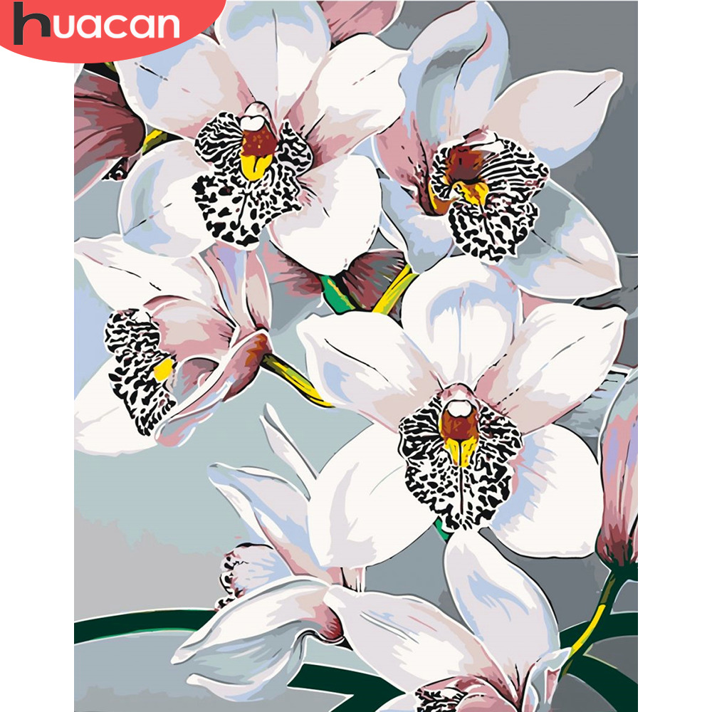 HUACAN Oil Painting By Numbers Lily Flower Canvas Pictures Painting For Living Room Wall Art Home Decoration DIY Gift