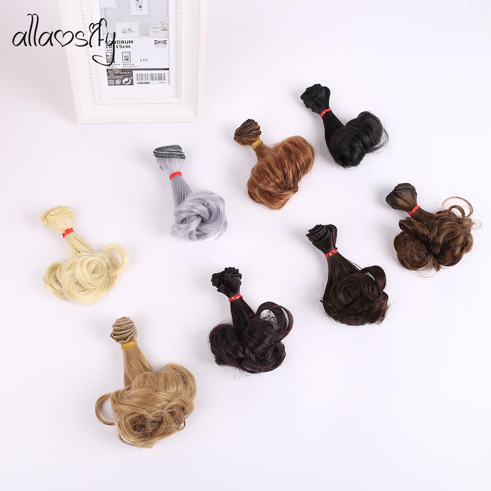 Allaosify 15cm*100cm Wavy Doll Hairs SD AD 1/3 1/4 1/6 Bjd Doll Diy Hair For BJD Curly Doll Wigs Tress Hair For Dolls
