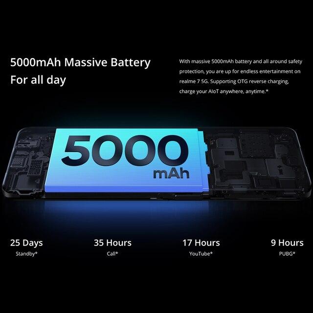realme 7 5G 6.5''FHD+ Dimensity 800U 6GB 128GB 120Hz Display 48MP Camera 5000mAh 30W Dart Charge NFC Mobile Phone 4