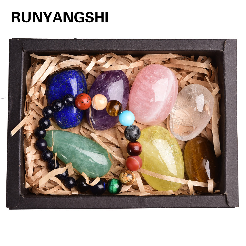 8pcs Natural Crystal Original Stone Seven Chakra Healing Stone Mineral Specimen Collection Gift Box