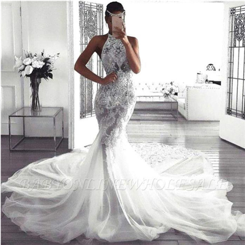Us 329 99 30 Off Sexy Halter Mermaid Wedding Dress Luxury Lace Appliques Wedding Gowns With Tulle Court Train Robe De Mariee In Wedding Dresses From