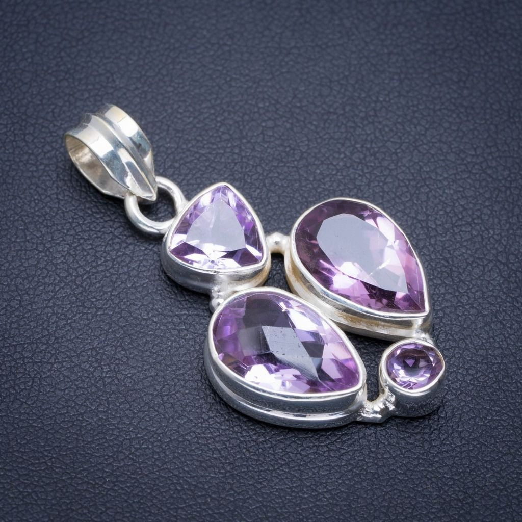 Natural Amethyst Handmade Unique 925 Sterling Silver Pendant 1.5 A1677