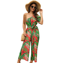 Tropical Print Summer 2020 Women Jumpsuits Sexy One Shoulder Floral Wide Leg Rompers Belted Womans Pomper Pants Holiday Outfits self belted floral peg pants