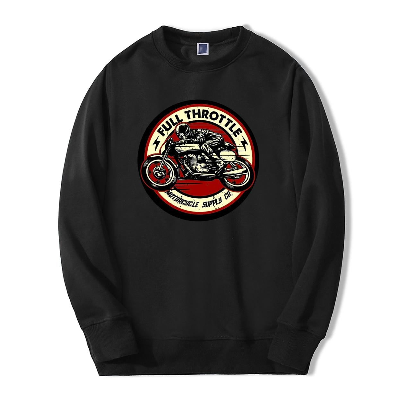 Full Throttle Cafe Racer Rockabilly Biker Sweatshirts Men 2019 Spring Winter Fashion Men Hoodies Fleece High Quality Tracksuit
