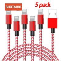 Suntaiho Cable USB para cable de cargador de iPhone Cable 11 XR 7plus X XS 11 Pro Max 8 7 6s 6 5 5s 2.4A rápidamente de carga del cargador del Cable USB de teléfono