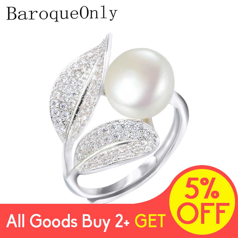 BaroqueOnly Romantic and Shiny Leaf Ring 9-10mm WHITE PINK BLUE PURPLE Freshwater Pearl ring Best Mother's Day Gift for Woman
