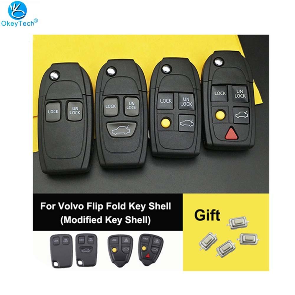 OkeyTech For Volvo S60 XC90 V50 S40 V70 S60 S70 S80 XC70 Modified Flip Folding Car Key Shell Cover Case NE66 Blade Send Switch