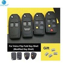Okeytech, capa de chave de carro, capa modificada, dobrável, para volvo s60 xc90 v50 s40 v70 s60 s70 s80 xc70 ne66 lâmina envio interruptor