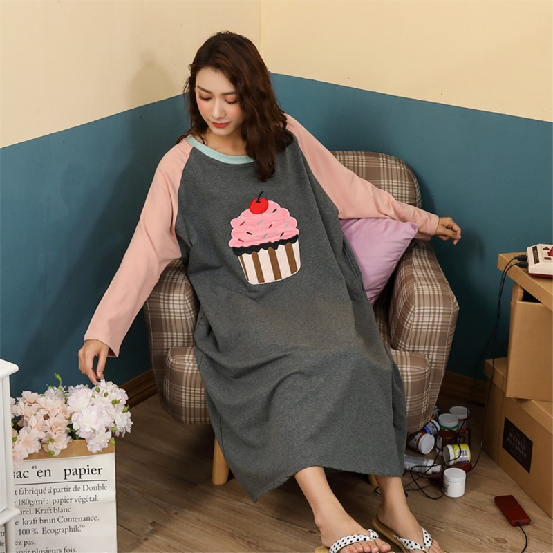 Loose Women Cartoon Sleepwear Leisure Long Sleeve Thin Nightgowns Printing Food Clothes Oversize Nightdress ночная рубашка