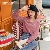 INMAN 2020 Autumn New Arrival Janpanese Style Women Shirt Lady Inside Wear Small Plaid Doll Collar Long Sleeve Blouse