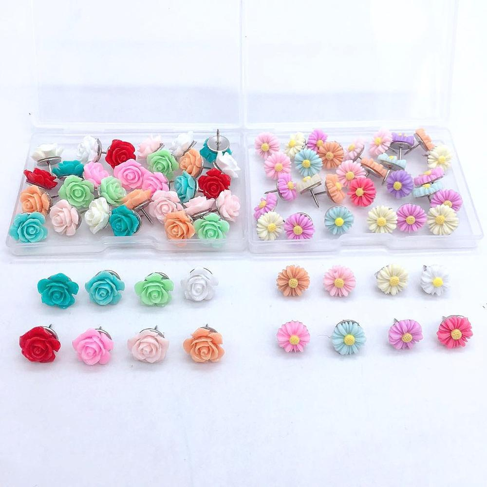 30pcs Office Decorative Thumbtacks Colorful Push Pins for Home,Floret Pushpins for Whiteboard, Photos Wall, Maps, Bulletin Board