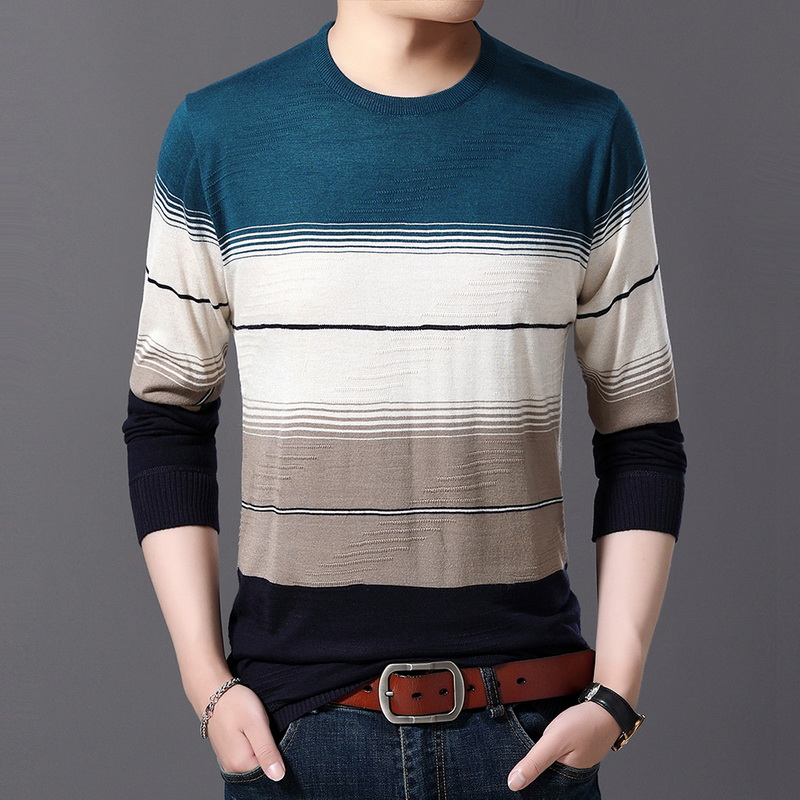 Shujin O-Neck Striped Slim Fit Knitting Mens Cotton Sweaters Warm Slim Shirt Men's Sweater New Mens Fashion Casual Sweater