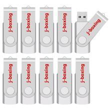 J الملاكمة 10 قطعة محرك فلاش USB المعادن الإبهام محركات 64 MB 128 MB سعة صغيرة بندريف 256 MB 512 MB USB 2.0 ذاكرة عصا الفضة