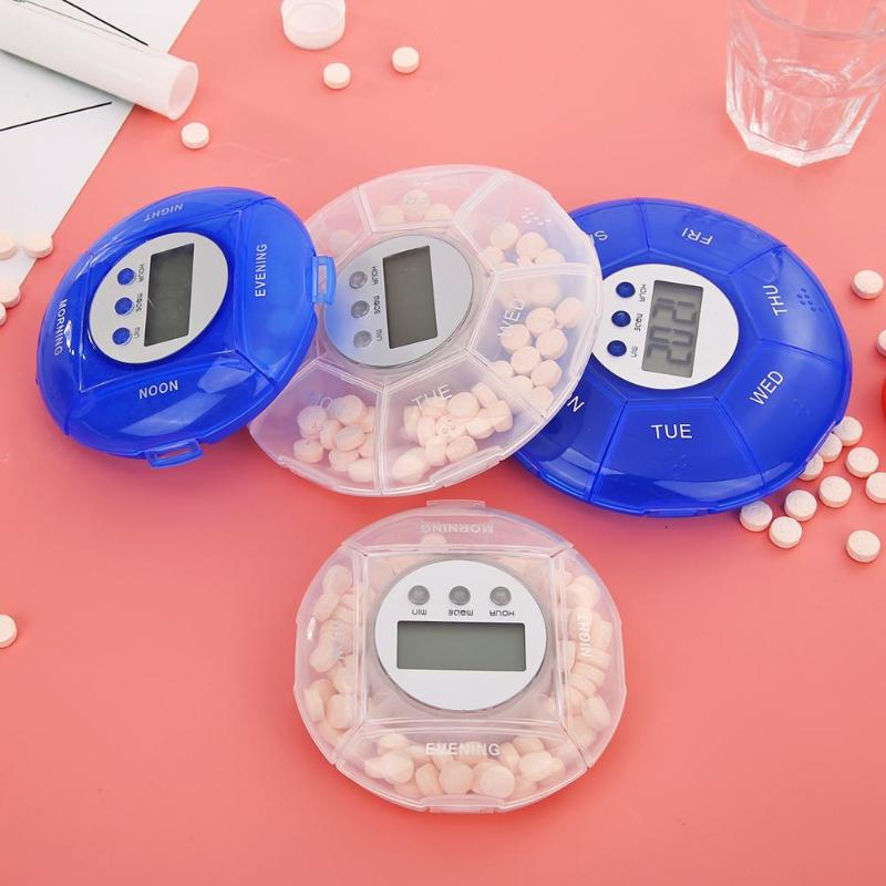 4/7 Grids Electronic Pill Case Timing Reminder Splitter Mini Travel Medicine Storage Box Personal Health Care Accessories