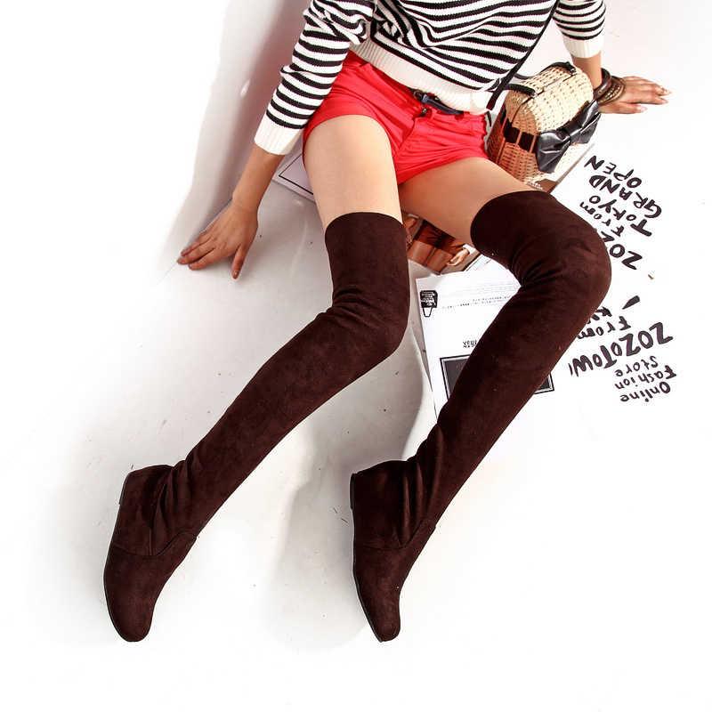 SGESVIER kadın botları kış sonbahar moda düz alt çizmeler ayakkabı diz yüksek bacak süet uzun çizmeler marka tasarımcısı OX017