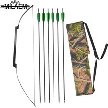 цена на 1 Set 30/35/40lbs Fold Bow Archery Hunting Bow Aluminum Alloy Handle with 6Pcs Sp500 Carbon Arrow Shooting Hunting Bow Arrow Set