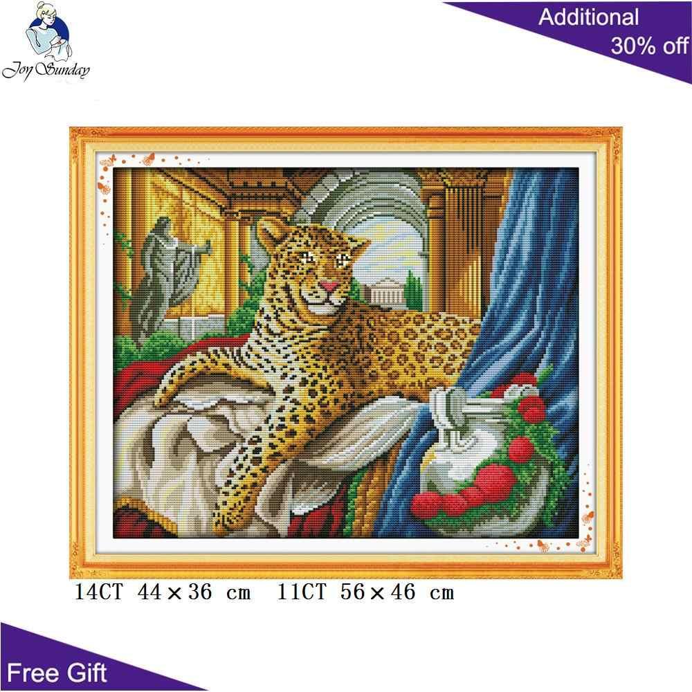Joy Sunday леопардовая вышивка крестиком D238 D529 D631 D724 D902 (2 домашний Декор снежный Леопард в воздуходувках животные рукоделие Наборы крестиков