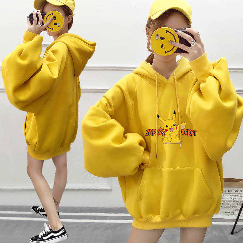 Japanischen Anime Pokemon Hoodies Cartoon Print Pikachu Gelb Frauen Hoodie Kawaii Fleece Mit Kapuze Sweatshirt Womans Harajuku Kleidung