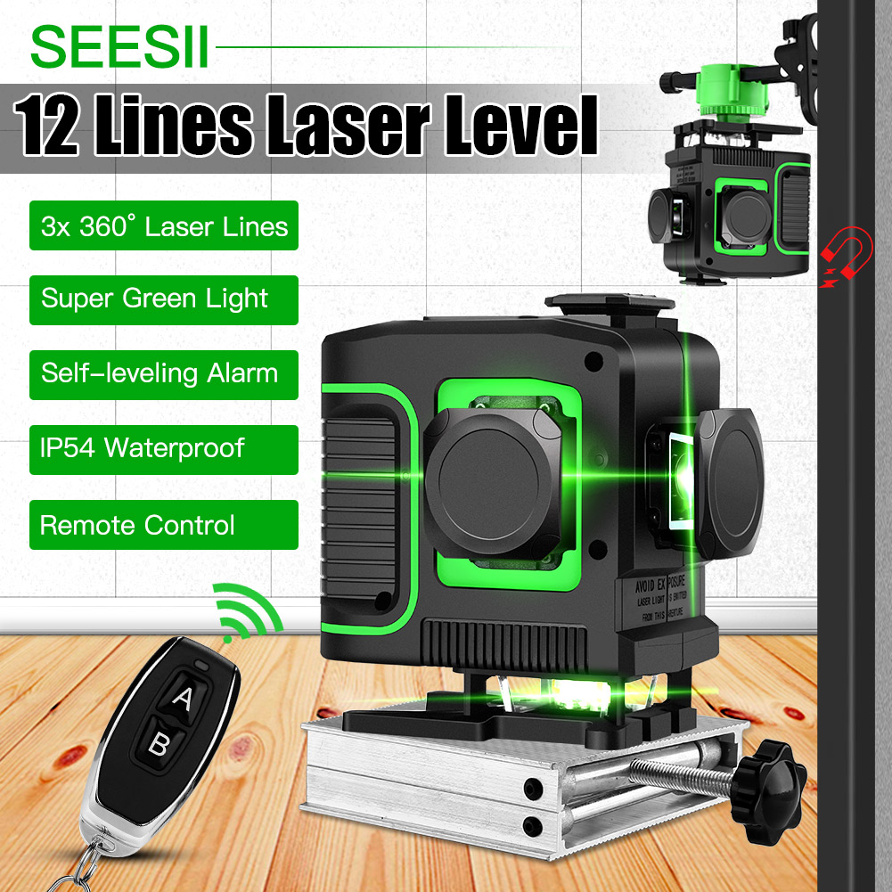 3D 12 Lines 360 Degree Self Leveling Laser with Remote Control High Accuracy