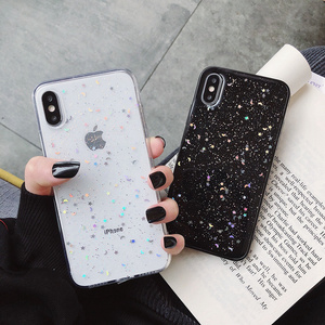 For Apple iPhone 11 Pro 6 6s 8 7 Plus XR 10 X XS Max 5S Cover Glitter Bling Star Moon Sequins Soft TPU Clear Silicone Phone Case(China)