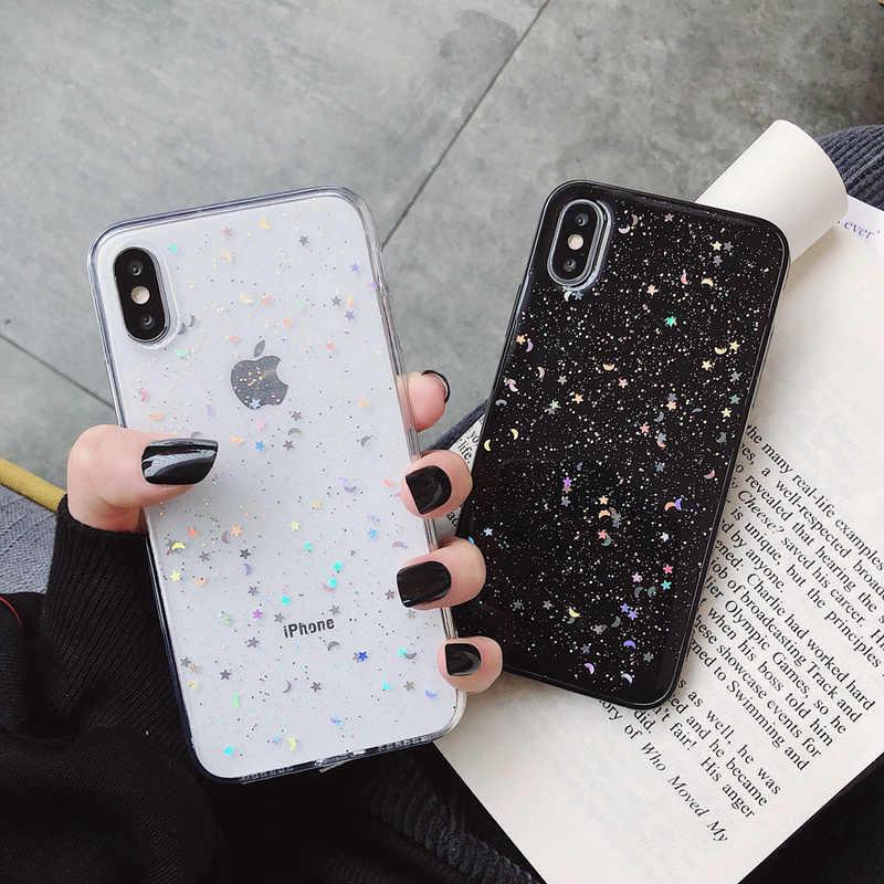 Untuk Apple Iphone 11 Pro 6 6 S 7 7 Plus XR 10 X XS Max 5S Penutup Kilau bling Bulan Bintang Payet Lembut TPU Bening Silikon