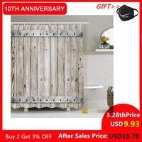 Cortina de chuveiro de madeira 200x200 esteira decorativa do vintage tecido poliéster à prova dwaterproof água conjunto de cortina de banheiro decoração de banho de casa multi-tamanho