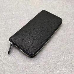 Cartera clásica negra auténtica de piel de avestruz para hombre, cartera de mano larga de cuero genuino para hombre, tarjetero grande