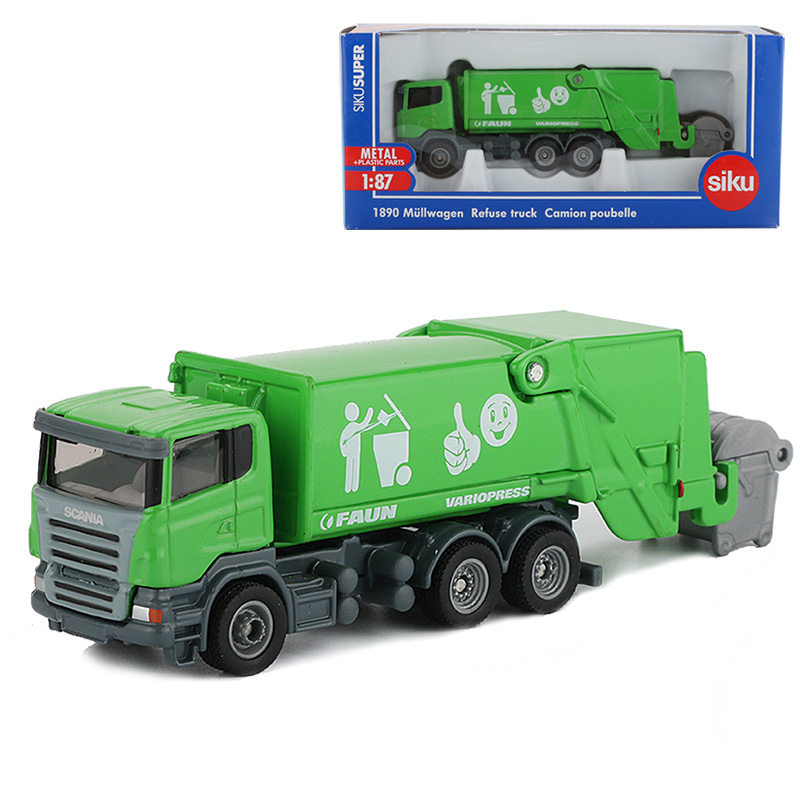 Siku 1:87 Alloy Truck Toy Garbage Trucks Lorry Van Transport Vehicle Refuse Dumper Engineering Cars Toys For Children Collection