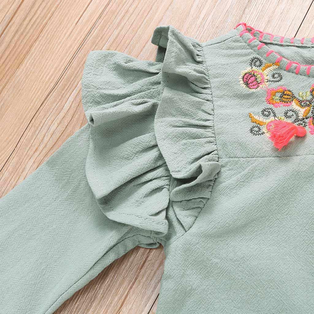 Ползунки с оборками для новорожденных и маленьких девочек; комбинезон с цветочной вышивкой; Повседневный Свободный комбинезон; одежда для сна; сезон осень-зима