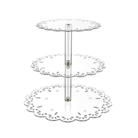New 3 Tiers Round Rack Acrylic Clear Nail Polish Cosmetic Display Stand Holder Manicure Tool Organizer Storage Lace Border