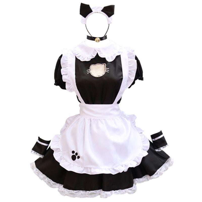 Women Sexy Cosplay French Maid Uniform Lingerie Set Hollow Love Heart Ruffles Lace Dress Cat Ear Bandana Apron Nightwear