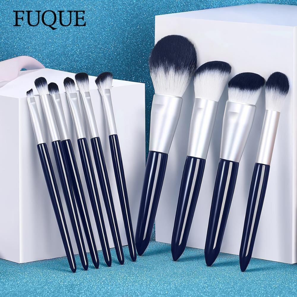 fuque 10 pcs conjunto de escova de maquiagem azul alta qualidade alca de madeira macio cabelo